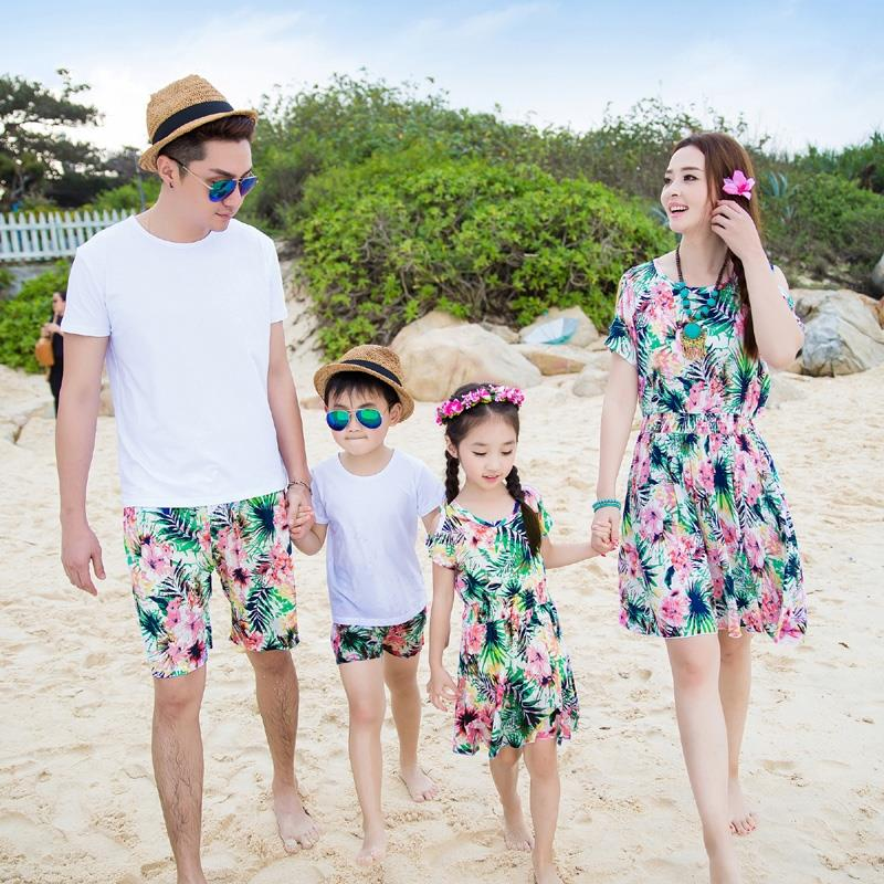 Free Shipping 2016 Summer fashion Family clothing flower Bohemia women girl dresses girls Dress men Boy t shirt pants Outfits