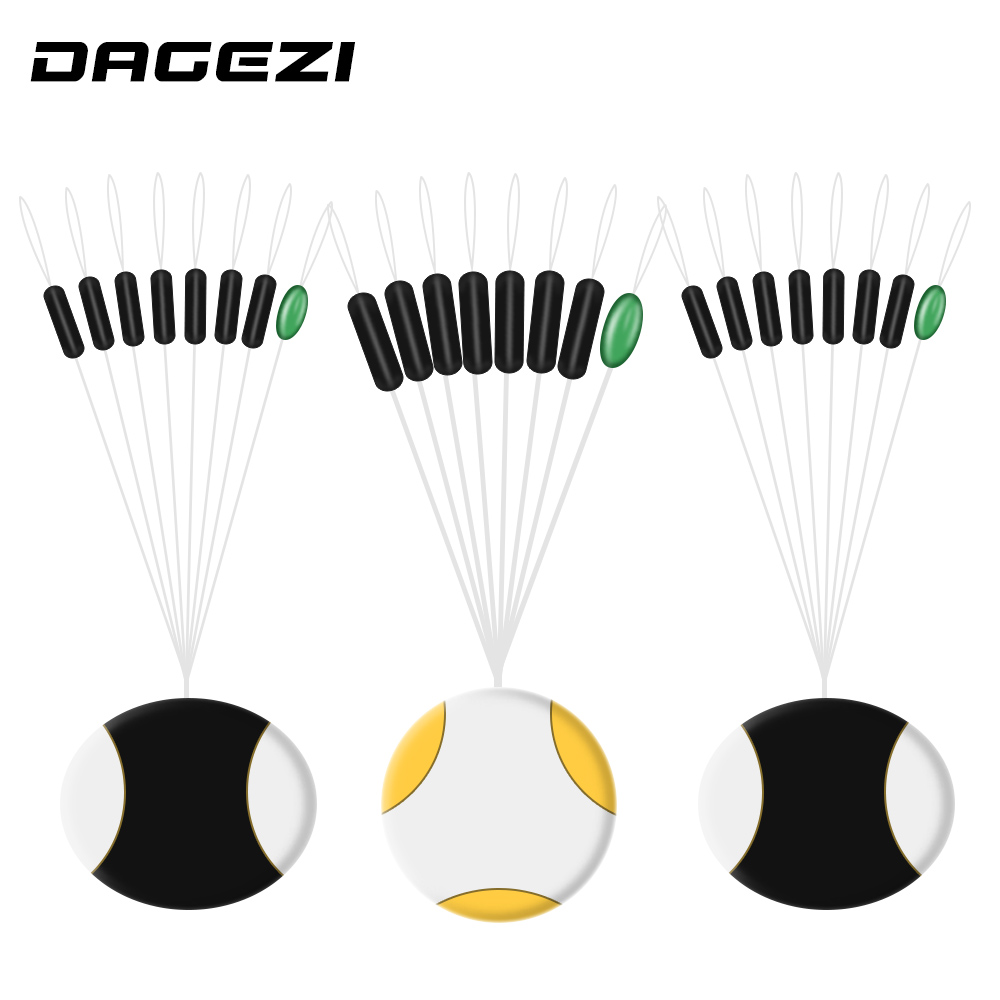DAGEZI High Quality 5pcs/lot Fishing Bobber Float 7+1 Yellow Rubber Oval Stopper Space Bean Connector Fishing Tackle Accessories