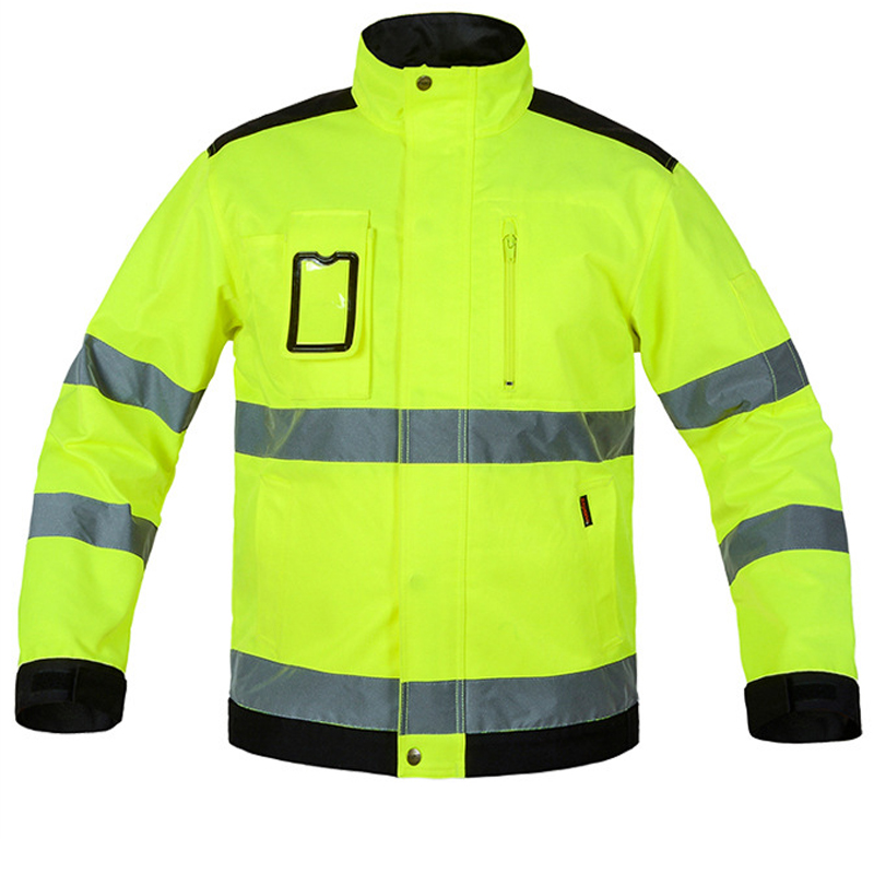 New 2018 Reflective Jacket High visibility Men Outdoor Working Tops Fluorescent Yellow Multi-pockets Safety Workwear Clothing fluorescence yellow high visibility