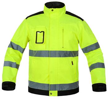 New Reflective Jacket High visibility Fluorescent Yellow Jackets Men Outdoor Working Tops Multi-pockets Safety Workwear Clothing