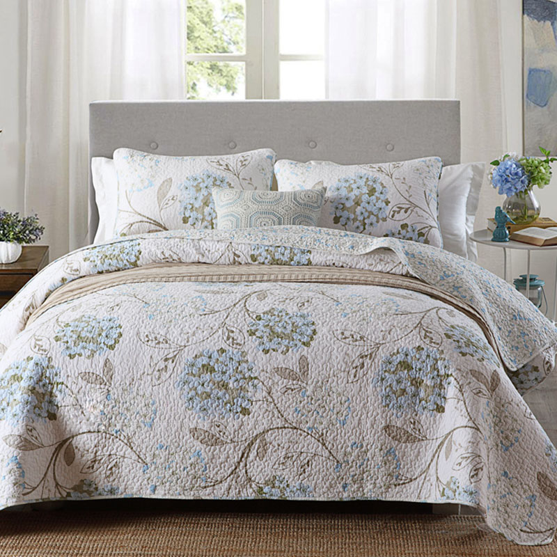 Quality Printed Bedspread Quilt Set 3PC Quilted Bedding Cotton Quilts Bed Covers Pillowcase King Queen Size Coverlets Blanket