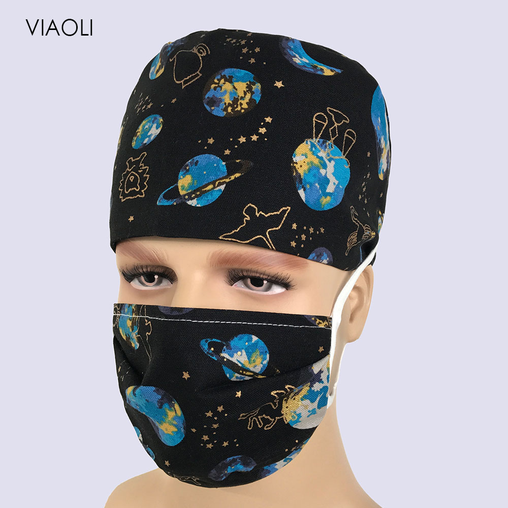 New Planet Scrub Caps For Women And Men Hospital Medical Hats Printing Tieback Elastic Section Surgical Cap And Mask Accessories