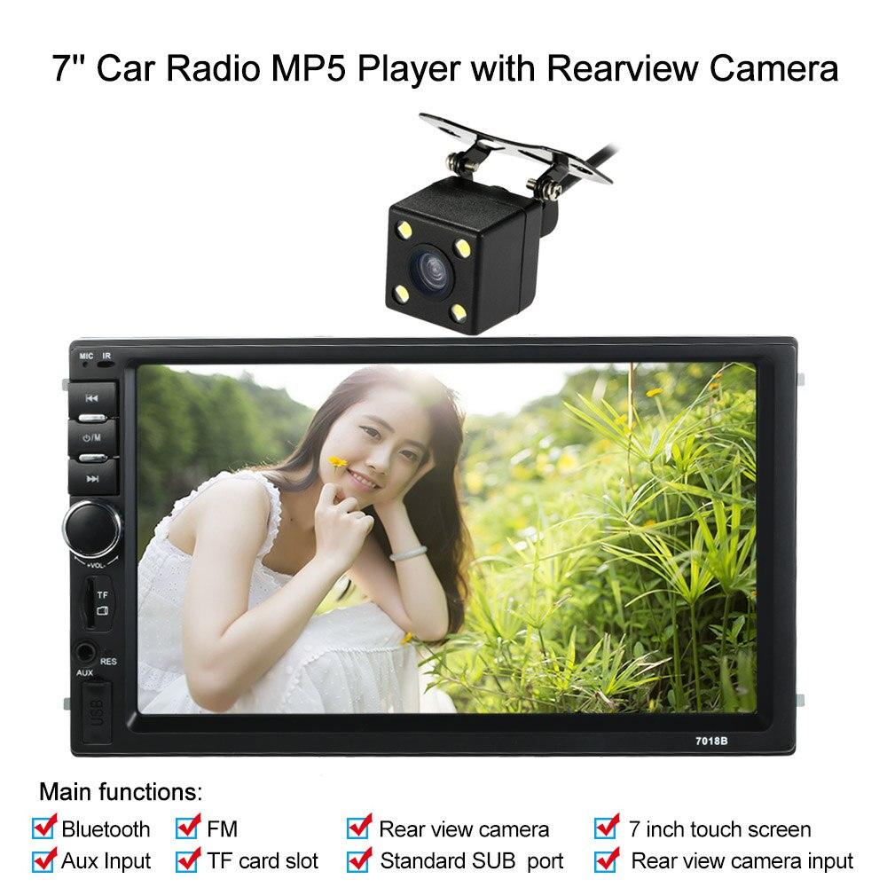 Новый 2 Дин HD автомобиля bluetooth стерео FM-радио с mp5/MP4/МР3 с USB/TF карт AUX вход с Камера заднего вида для седан внедорожник 4WD 7 Универсальный