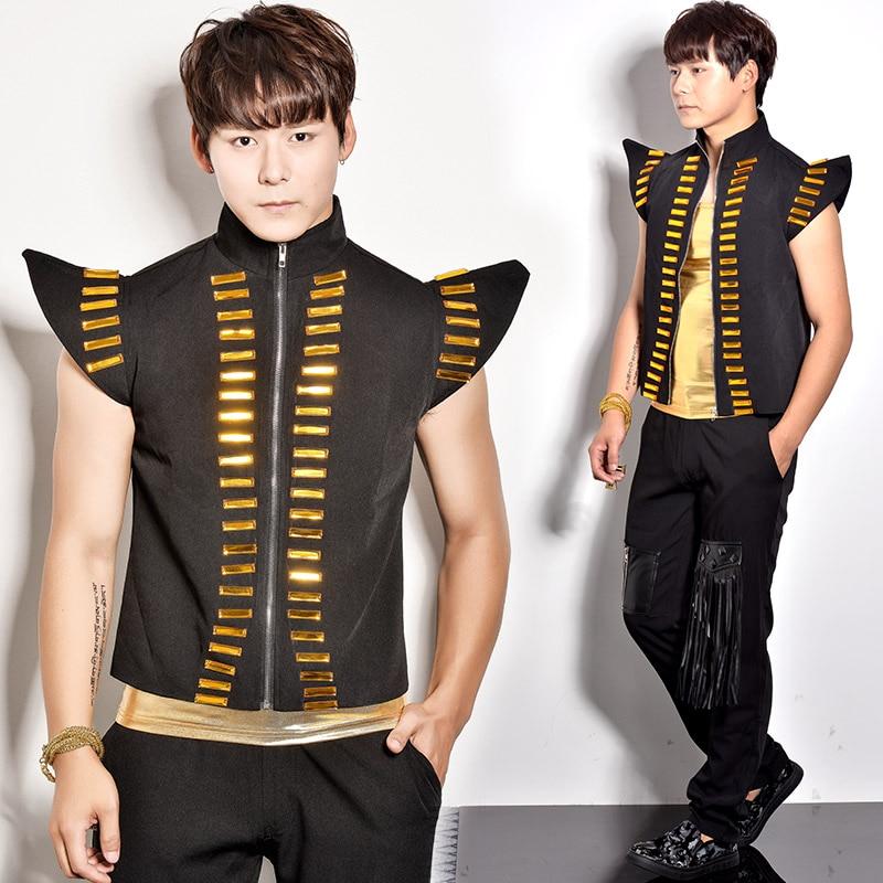 Nightclub Male singer dj punk rack drum clothes Men's Fashion Sequin Vest costume set party show stage performance wear