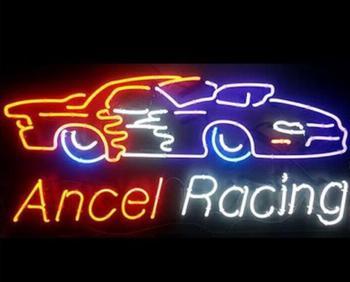 Custom ANCEL RACING Glass Neon Light Sign Beer Bar