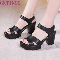 GKTINOO 2019 New Leather Women Platform Sandals Hook& Loop High Heels Sandals Summer Peep Toe Shoes Woman Plus Size 33 43