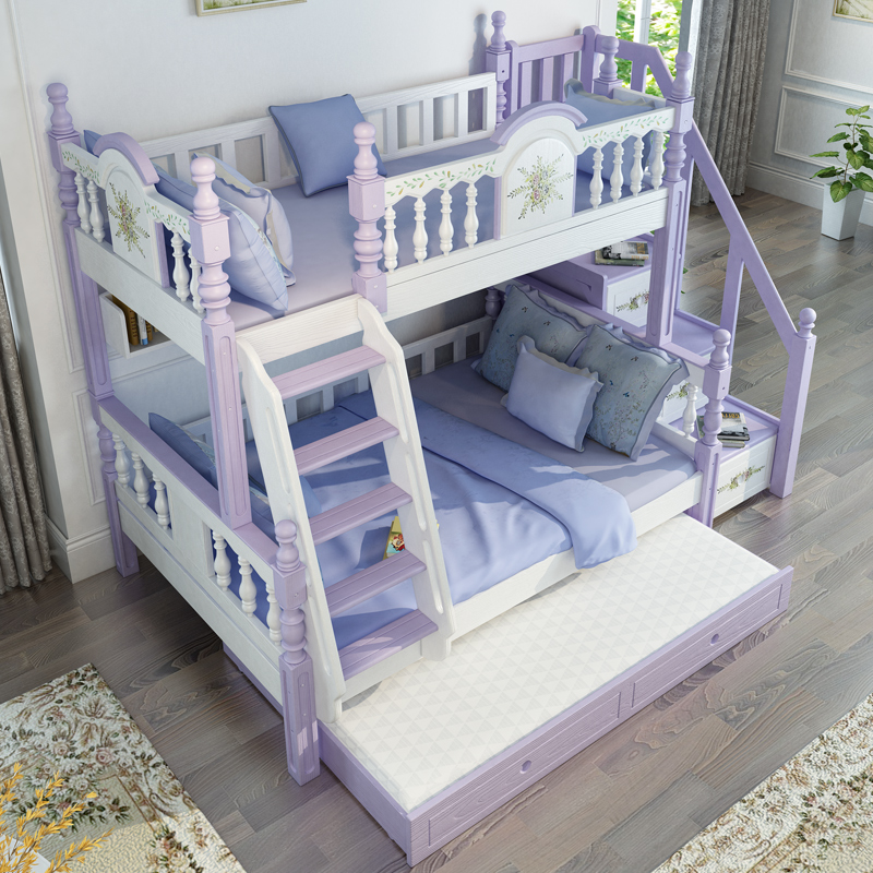 Modern Bedroom Furniture White Purple Solid Wood Bunk Bed For