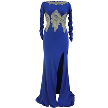 Vestidos De Fiesta Real Novelty Office Dress Europe Station Elegant Applique Fitting Long Sleeved 61308 Slit Hollow Left Back