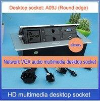 Office conference multimedia socket /hidden /VGA,3.5 audio,network,RJ45 cable Information outlet box / desktop socket / A09J