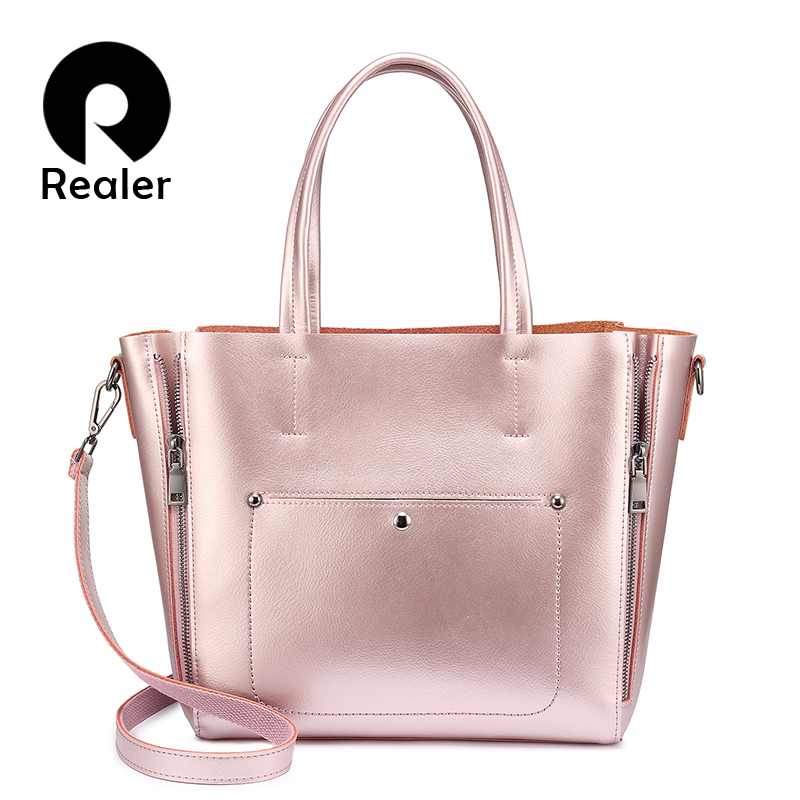 Realer shoulder bags totes for women split leather ladies handbags fashion designer high quality large crossbody
