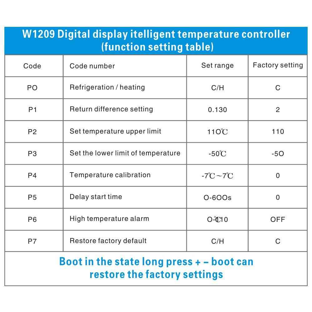 Dc 12 v w1209 digital fresco/controlador de temperatura do termômetro do termostato do temp do calor interruptor de ligar/desligar-caixa acrílica do caso 50-110c + w1209