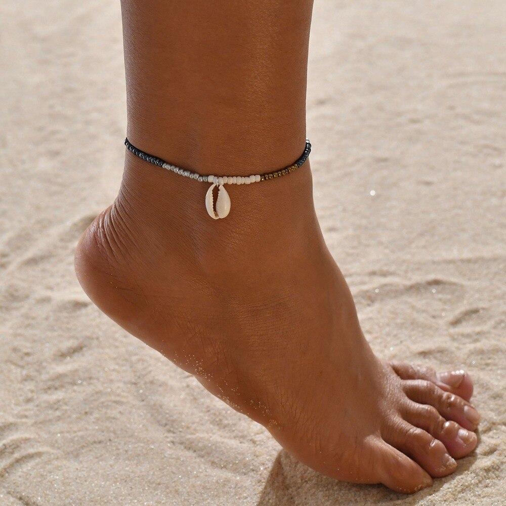 Huitan Fashion Pendant Anklets Simple Buddha Beads Ethnic Bracelets Barefoot Jewelry Handmade Ancient Stylish Foot Bracelets