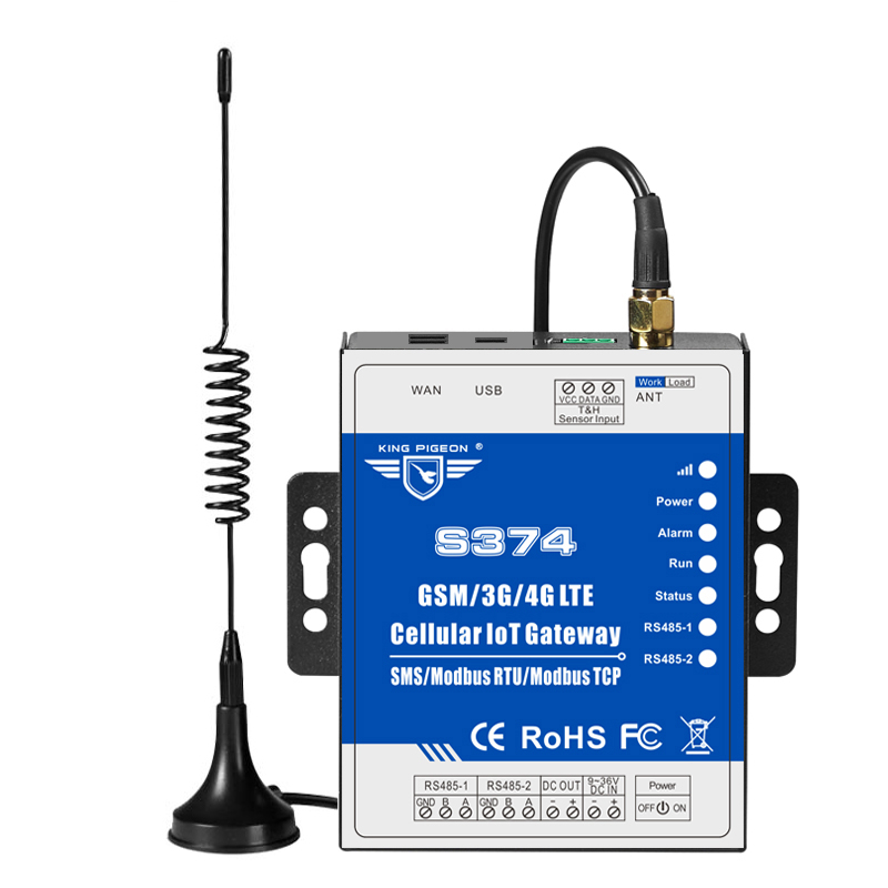 4G LET IoT Gateway 2 RS485 For Aquaculture Sewage Treatment Monitoring Support Modbus TCP S374