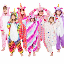 Купить с кэшбэком New children's pajamas Unicorn star boys and girls flannel animals Unicornio cartoon pajamas children's pajamas 2019 new 4-12 Y