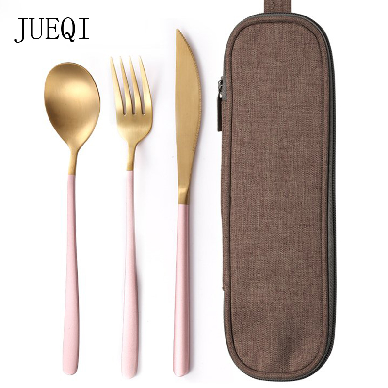 JueQi Tableware Set Cutlery Stainless Steel 304 Utensils Kitchen Dinnerware include Knife Fork TeaSpoons Camping Tableware Bag