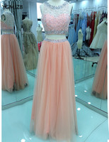 Sexy Two Piece Prom Dresses Long 2017A Line Crystal Beading Floor Length Blush Formal Evening Party Dresses Graduation Gowns
