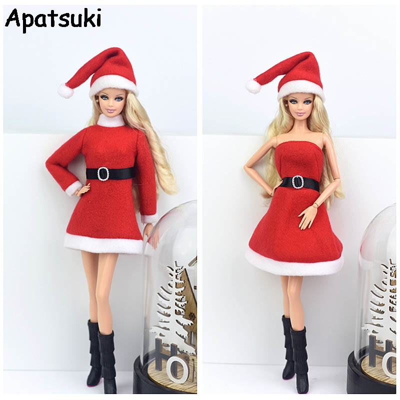 Merry Christmas Outfits For Blythe Doll Dress & Red Hat High Heels Shoes Clothes For Barbie 1/6 Doll Accessories Kids Toy