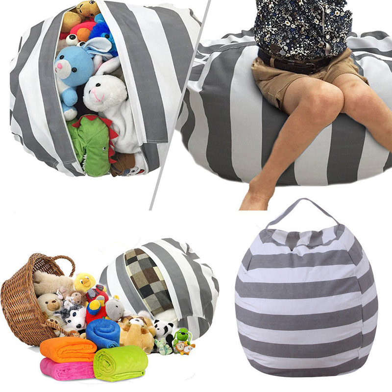 Image 3 - New Portable Canvas Stuffed Plush Toy Bag Foldable Kids Clothes Storage Bean Bag for Home Multi Purpose Organizer Pouch-in Storage Bags from Home & Garden
