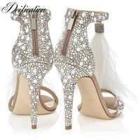Deification Crystal Embellished Woman Pumps Feather Tassel Gladiator Sandals Women Fashion Ladies Stiletto Party Wedding Shoes