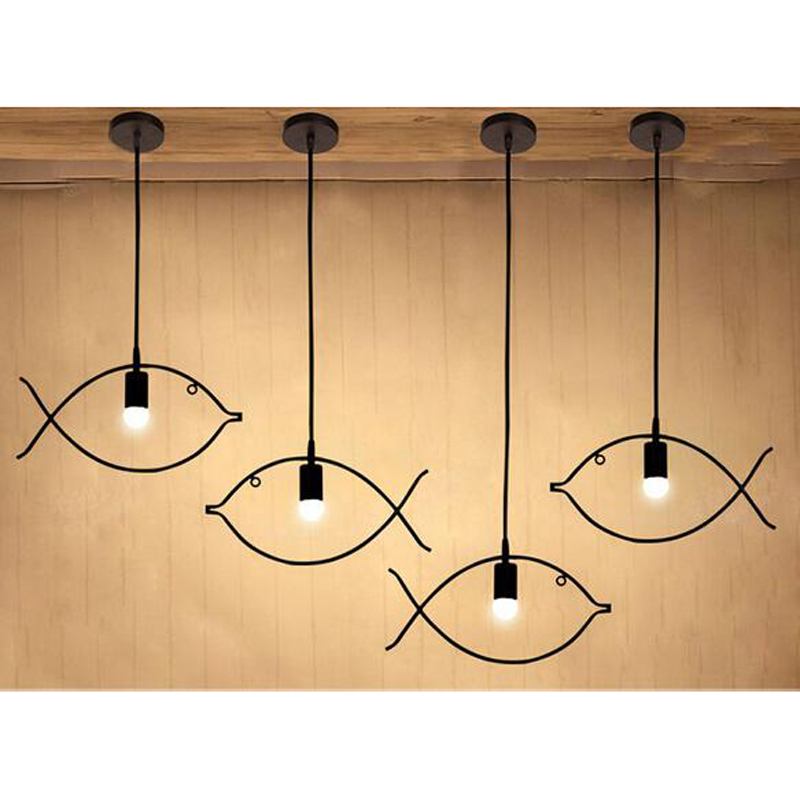 A1 Vintage industrial wind personality iron bar cafe restaurant fish pendant bedroom balcony Fashion Pendant Lights FG514 LU1020 40cm the pendant light creative personality of iron spider fashion art restaurant bar cafe loft industrial wind