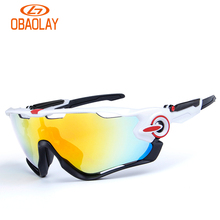 Obaolay TR90 Polarized Cycling Bike Sun Glasses Outdoor Sports Bicycle Bike Sunglasses Goggles Eyewear 5 Lens Bicycle Accessory