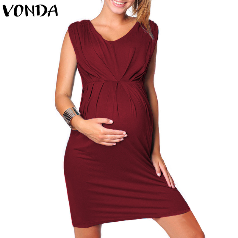купить VONDA Women Sexy Mini Bodycon Dress 2018 Summer Pregnant V Neck Sleeveless Casual Solid Dresses Maternity Plus Size Vestidos 5XL по цене 774.49 рублей