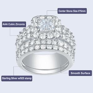 Image 5 - Newshe Halo alyanslar kadınlar için 4 karat çapraz kesim AAA zirkonya klasik takı 925 ayar gümüş nişan yüzüğü seti