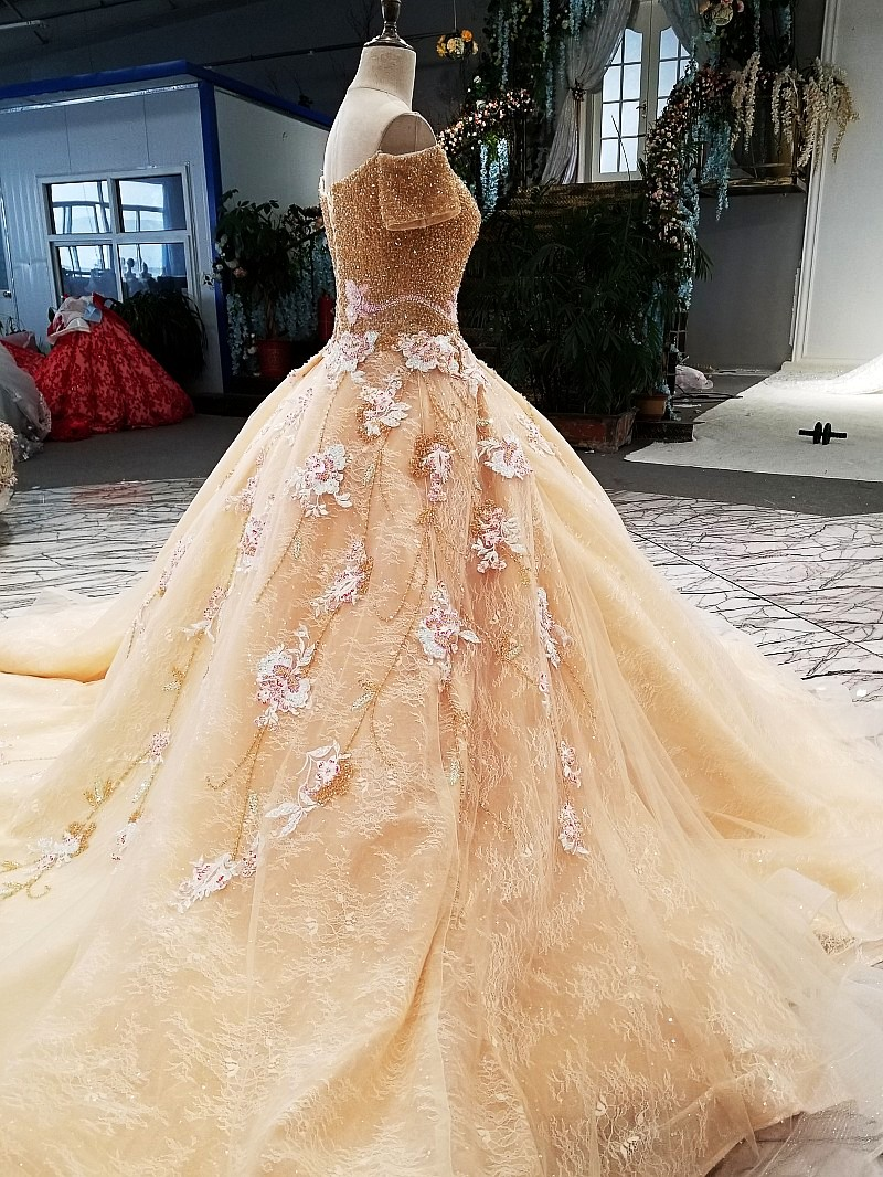 Muslim Wedding Dress Champagne Gold Colorful Embroidery Boat Neck ...