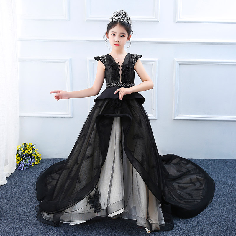Luxury Black Long Trailing Flower Girl Dresses Crystal Embroidery Kids Formal Dress Appliques Holy Communion Dress Little Girls