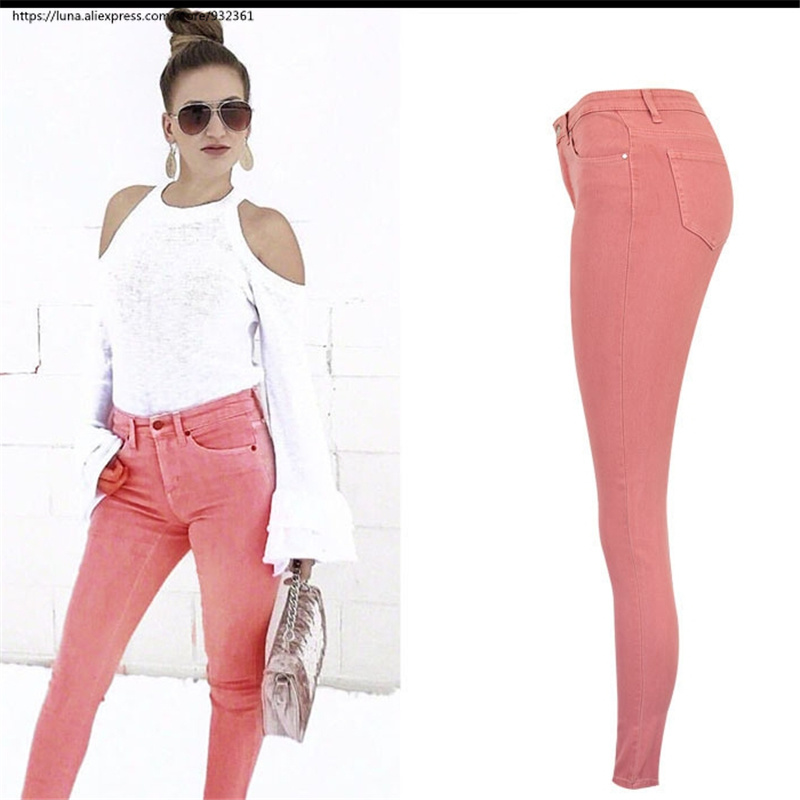 thoughts on top-rated original favorable price US $24.93 42% OFF|Fashion Casual Pink Hip high waisted Skinny jeans for  women plus size Stretch Denim Pants 2566-in Jeans from Women's Clothing on  ...