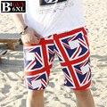 Más el Tamaño XXXL 4XL 5XL 6XL de La Bandera Británica Para Hombre Bermudas Cortas Ocasionales 2016 Algodón de Los Hombres Ropa de Playa Boardshorts Masculinos Summetsr