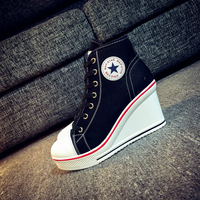 Woman Casual Shoes 2017 Spring Women S Lace Up Canvas Shoes Wedge Platform Shoes For Female