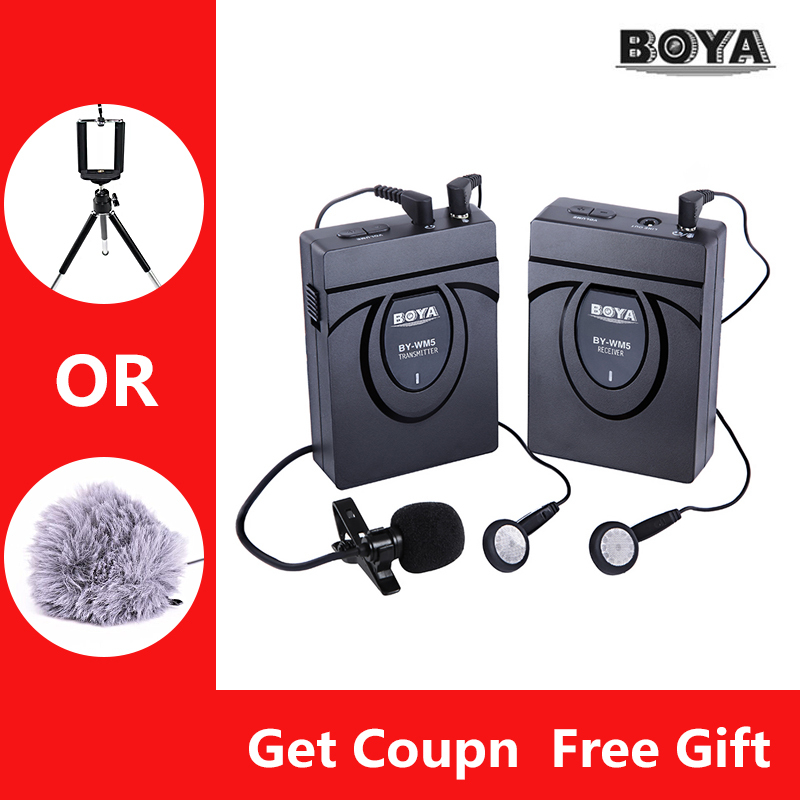 BOYA BY-WM5 Microphone with Transmitter System Video Recording Mic for DSLR Camera Smartphone iPhone saramonic smartmixer smartphone video film microphone handheld recording stereo microphone rig for iphone samsung android
