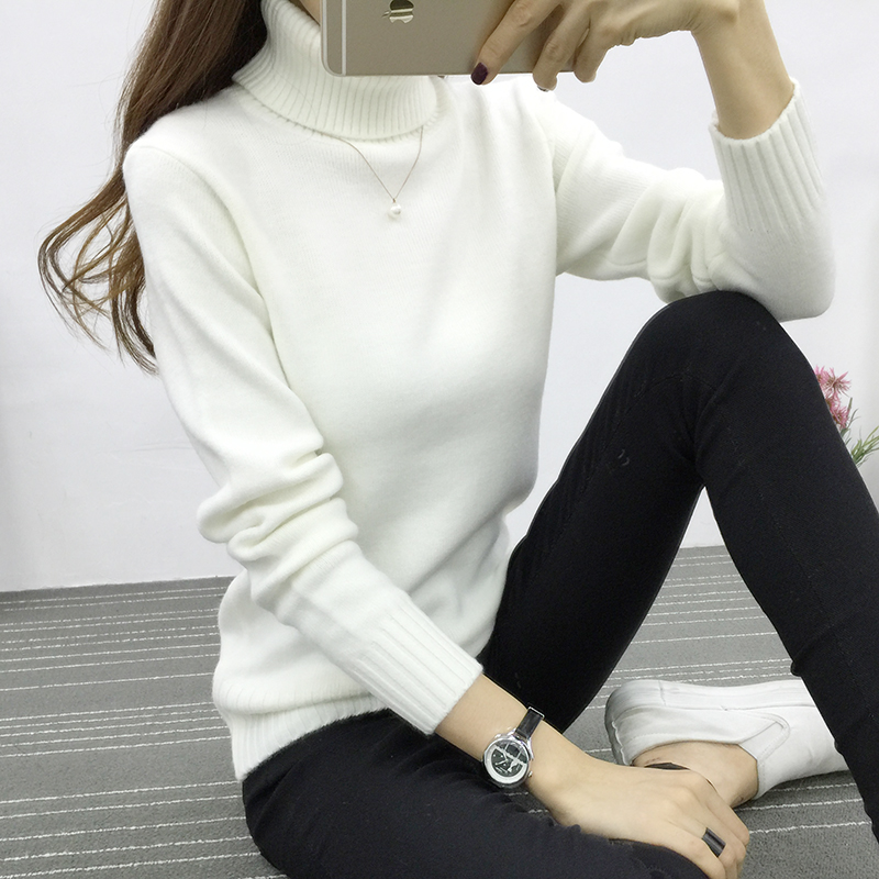 9b8202d1aa Candy Color Women Turtleneck Sweater 2016 Winter Warm Pullover White Pink 8  Colors Jumper High Quality Women Oversized Sweater