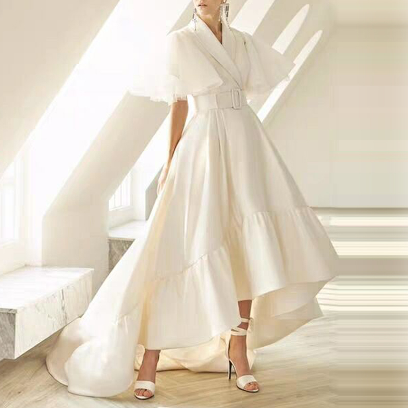TWOTWINSTYLE Party Dresses Female V Neck Cloak Sleeve High Waist With Sashes Asymmetrical Long Dress For Women 19 Spring 4