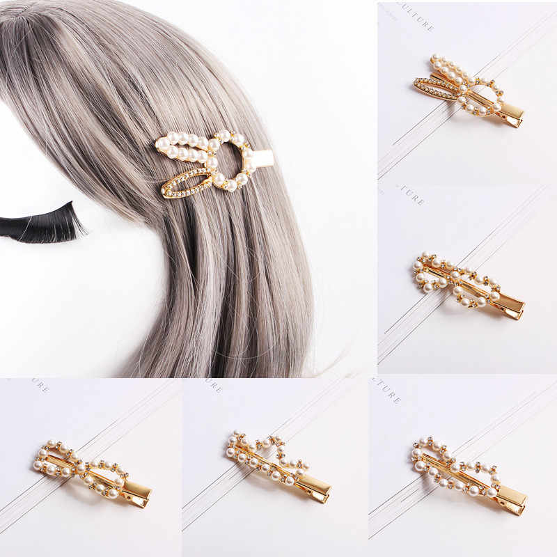 Wholesale Fashion Pearl Hairpin Rhinestone Pearl Snap Barrette Hair Accessories Spring Top Clip Liu Seaside Clip Word Clip