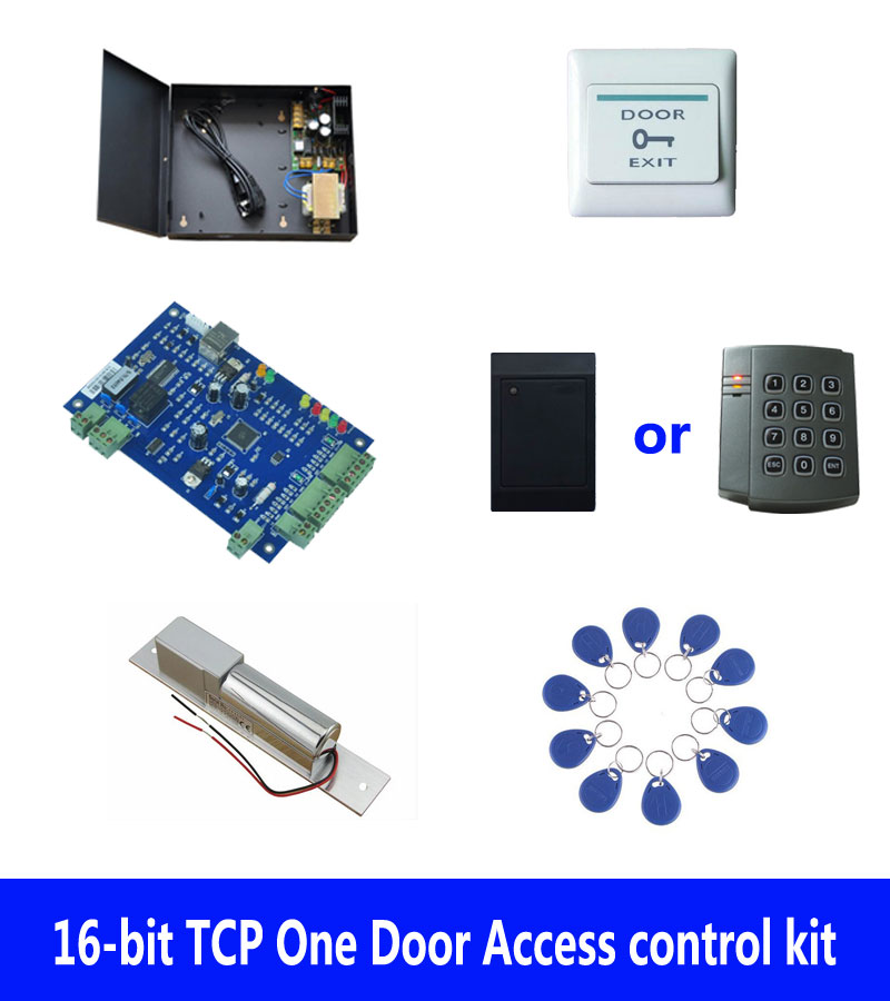 RFID access control kit,TCP one door access control+powercase+electric bolt lock +ID reader+exit button+10 ID tags,sn:kit-B102 biometric fingerprint access controller tcp ip fingerprint door access control reader