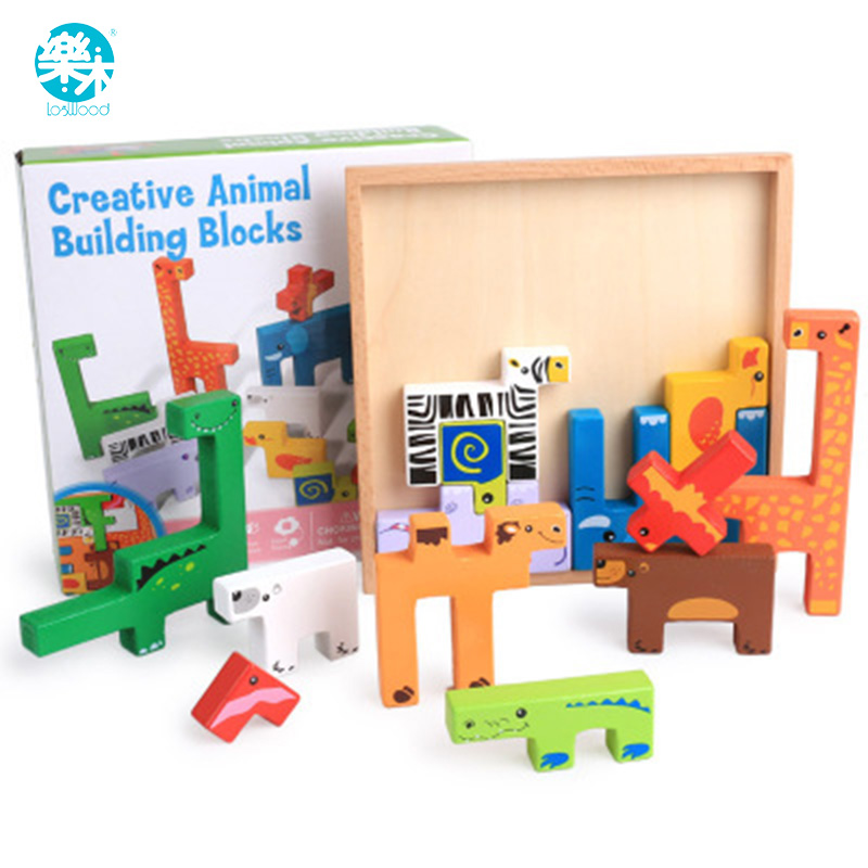 Logwood Wooden Toys Baby Building Block Toy For Children Animal 13pcs Colorful Learning Educational Table Game For Baby Gifts