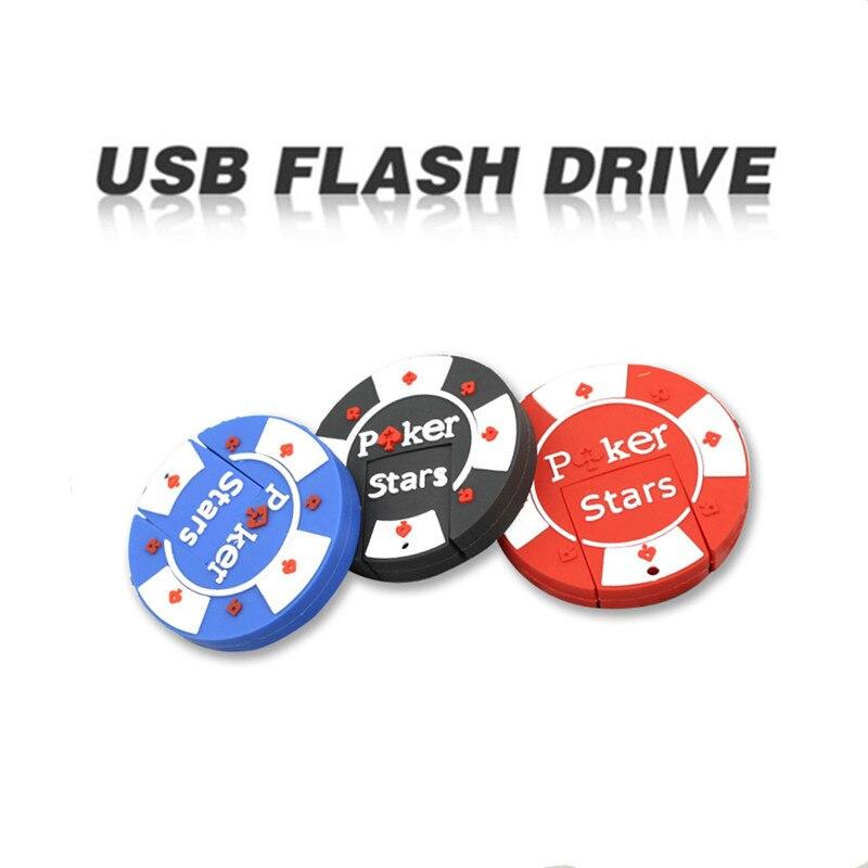 USB Flash Drive 4GB 8GB 16GB 32GB Pendrive Cartoon Pen Drive Rubber Poker Stars Pokerstars Extra Memory Stick USB 2.0 Gifts