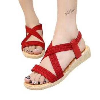 Mounchain Women Girls Shoes Simple Color Flat Heel Elastic Strap Stylish Sandals