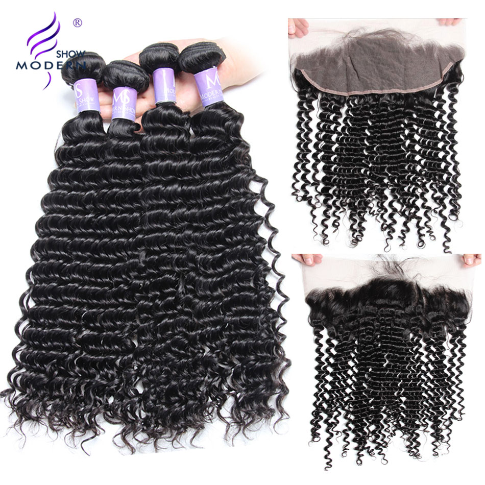 Modern Show Brazilian Deep Wave Bundles With Frontal 3 Bundles Remy Human Hair Pre Plucked Lace Frontal Closure With Bundles