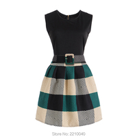 2017 패션 십대 소녀 드레스 격자 무늬 인쇄 민소매 우아한 드레스 십대 캐주얼 브랜드 디자이너 파티 공주 의상