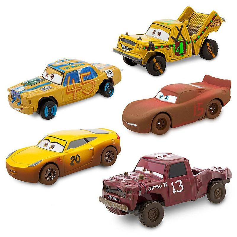 1:43 Disney Pixar Cars 3 Thunder Hollow Lightning McQueen Taco Jimbo T-Bone Diecast Model Cars Christmas Gift Toys For Kid Boy fonksiyonlu rende