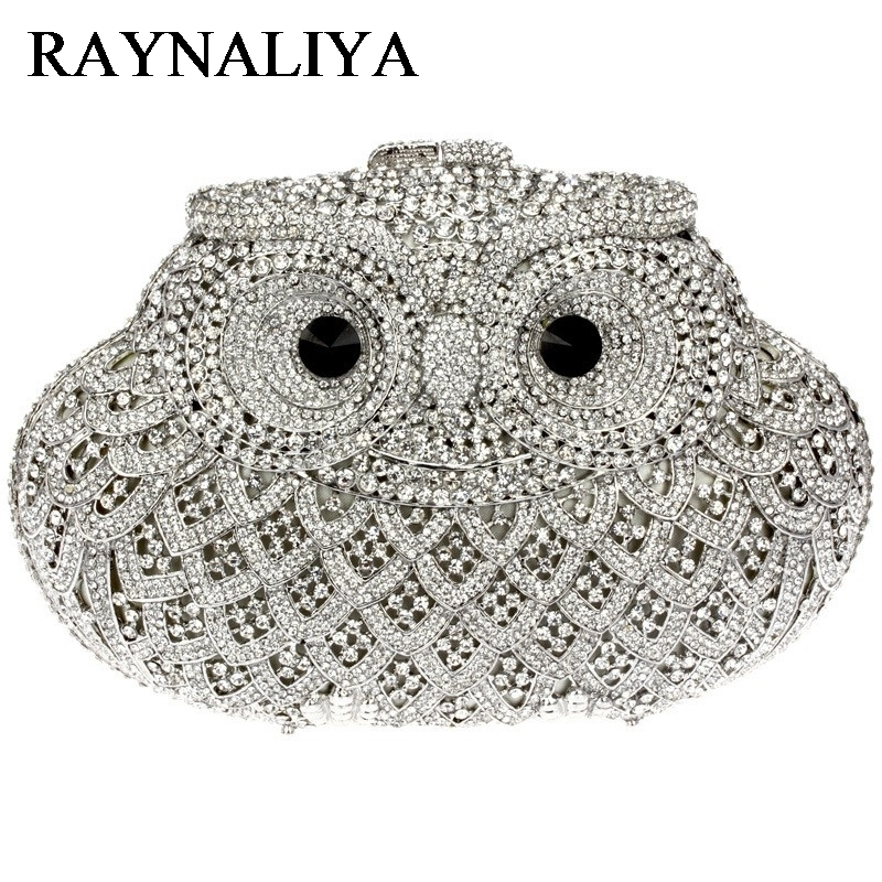 Classic Animal Owl Crystal Evening Bag Ladies Luxury Diamond Clutch Wedding Bridal Handbag Party Prom Banquet Bag ZH-B0226 europe new upscale butterfly diamond evening bag full diamond party handbag clutch
