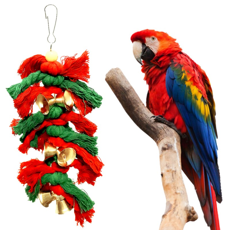 Pássaros engraçados Brinquedos Cacatua Papagaio Periquito Periquito Pássaro Balanço Algodão Escalada Corda Knots Com Sinos de Natal Decoração de Suspensão