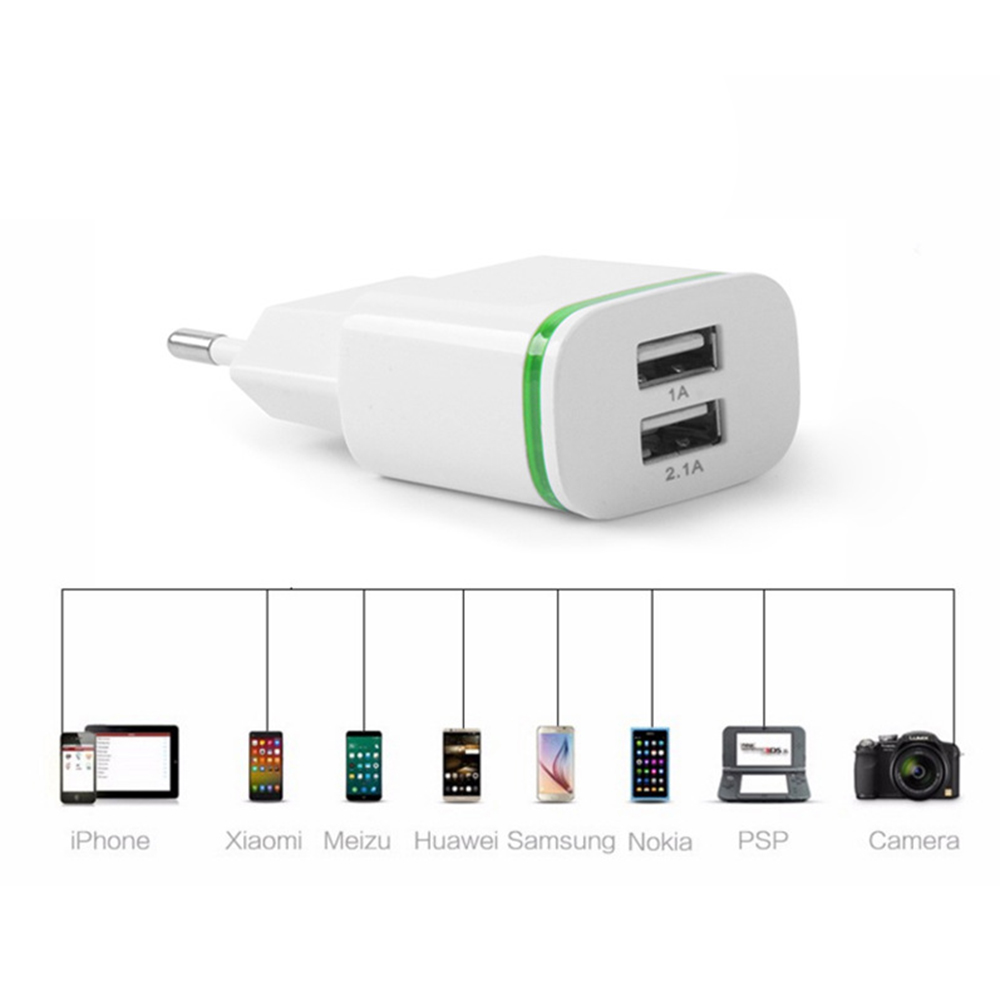 EU Plug 2 Ports LED Light USB <font><b>Charger</b></font> 5V 2A <font><b>Wall</b></font> Adapter Mobile <font><b>Phone</b></font> Micro Data Charging For iPhone iPad Samsung