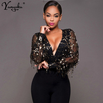Sexy Black Gold Sequins Jumpsuit Summer Bodysuits Women body Long sleeve Leotard Sequined Night clubWear Embroidery Party Romper sebowel sexy black striped mesh transparent bodysuits women long sleeves high neck skinny body jumpsuit club romper lace leotard