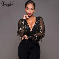 b830b46fb Sexy Black Gold Sequins Jumpsuit Summer Bodysuits Women Body Long Sleeve  Leotard Sequined Night ClubWear Embroidery