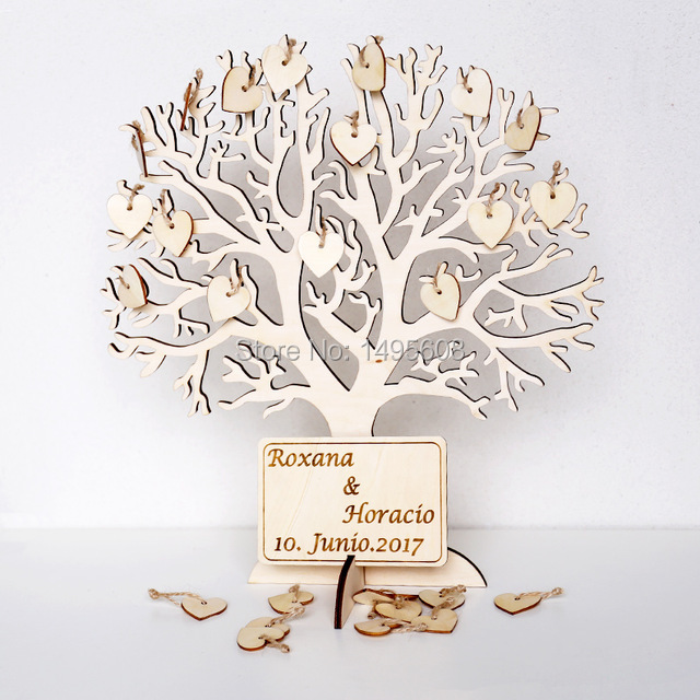 Wishing Tree Large Wooden Guest Book Alternative Unique Guestbook Wedding Sign W Engraved Names Frameable