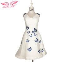 AnXin SH princesse bleu papillon blanc robe de soirée V cou vintage de soirée courte robe petite robe blanche 100% réel photos